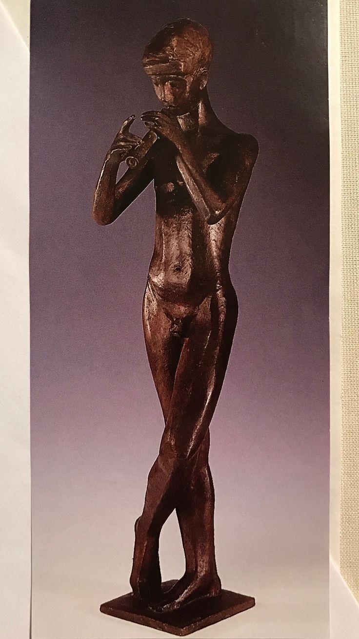 """Klein jürgen , 1904 - 1978 , FLÖTENSPIELER Bronze , 80 cm. hoch. Signiert : """" J. KLEIN """" ; Gießermarke : """" GUSS W. FÜSSEL 1 BERLIN 10 """"."""