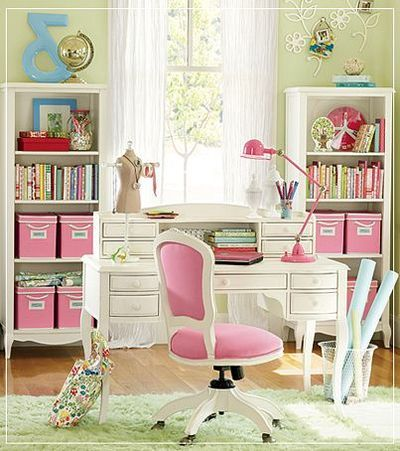 Pretty in pink home office - I'd turn this into a sewing space