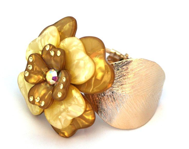 Bracciale in metallo con fiore in resina colorata - CUCCOLI ACCESSORI MODA