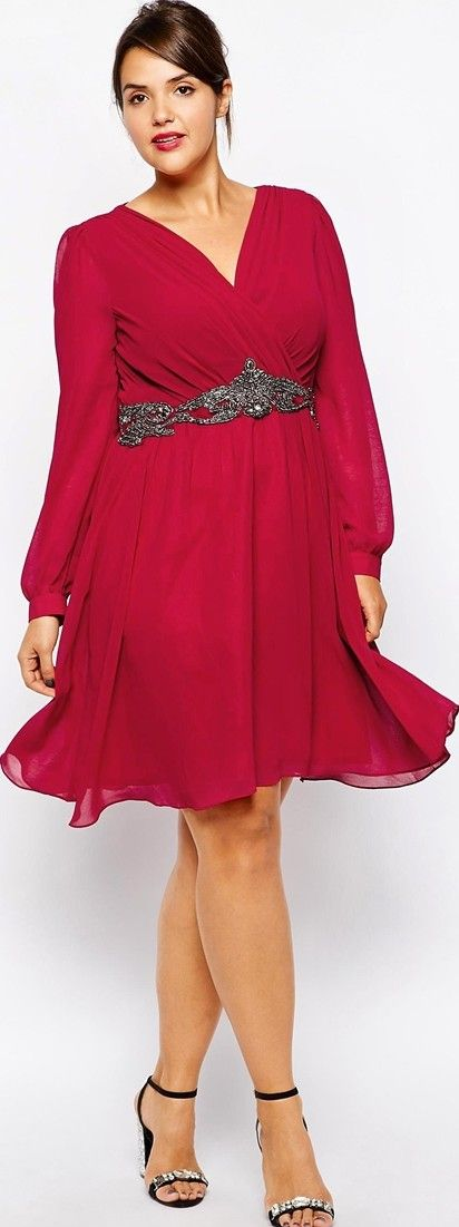 Cute red party dress, short: http://www.boomerinas.com/2014/10/29/trendy-plus-size-clothing-stores-online-29-boutiques-designers-worldwide-with-us-delivery/