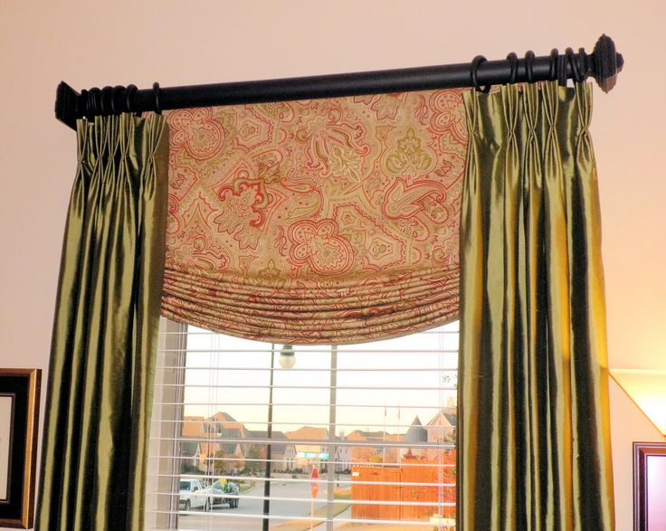 Accesories & Decors,Roman Shades Designs With White Outside Mount Blinds Added Silk Double Curtain Windows Hang On Black Iron Curtain Bar In Midcentury Living Areas Decors,Favored Outside Mount Blinds As Interior Decorations Ideas