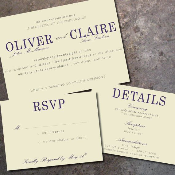 horizontal wedding invitation rsvp card and optional detail card