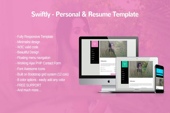 Swiftly - Personal and Resume Templa by Harry007 on Creative Market