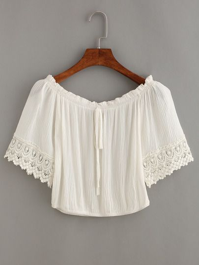 Crop Top en croché con cuello atado -blanco