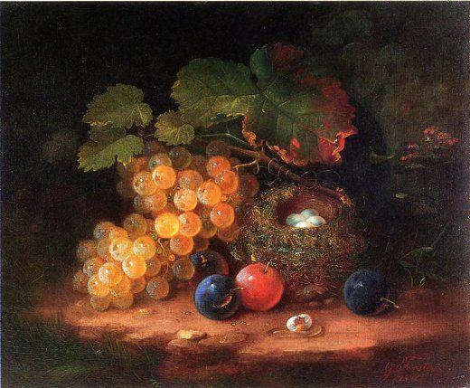 "Rembrandt Eggs | ... forster still life with fruit bird s nest and broken egg"" Art for sale"