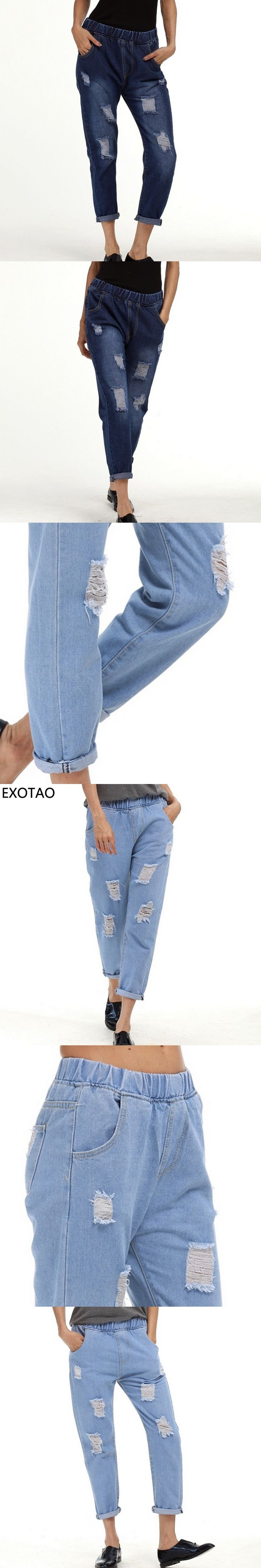 Elastic High Waist Ripped Jeans for Women 2017 Spring Oversized Vaqueros Mujer with Pockets Pantalones Vintage Trousers S~5XL