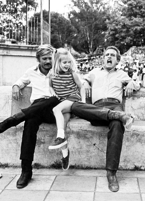 "Robert Redford, Paul Newman and Newman's daughter, Melissa, on the set of ""Butch Cassidy and the Sundance Kid"" in Mexico, 1968"