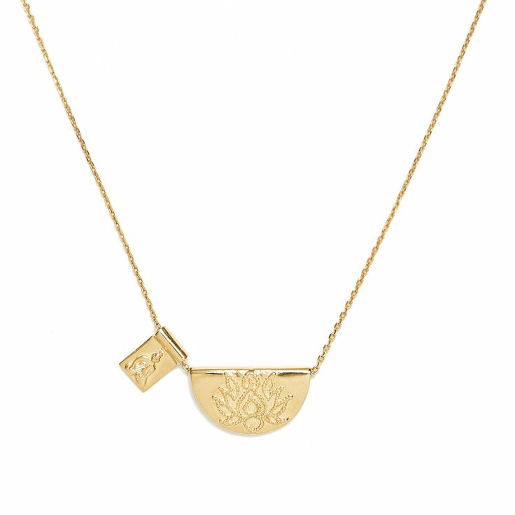 Gold Lotus and Little Buddha Necklace $155