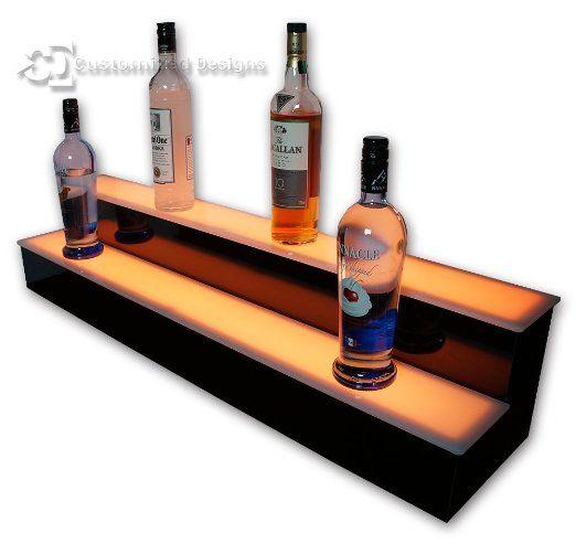 36 2 Tier LED Lighted Liquor Display Shelf White Finish