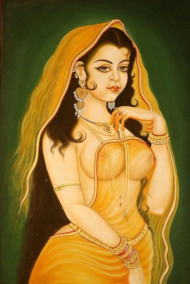 India Erotic Miniature Painting In Unique Frame
