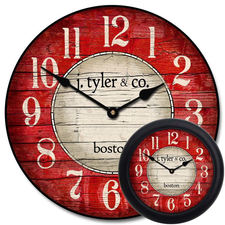 """We love the way this clock looks as a small clock but especially as a very large wall clock. It is impressive in the larger sizes (it looks great small too). It has a beachy clock feel. The """"wood"""" looks rustic, but still nice enough to be in an upscale room. You can get this clock as shown, blank in the center, or exchange these words for YOUR wor"""