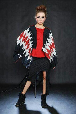 Tenun ikat rangrang cape + blocked skirt