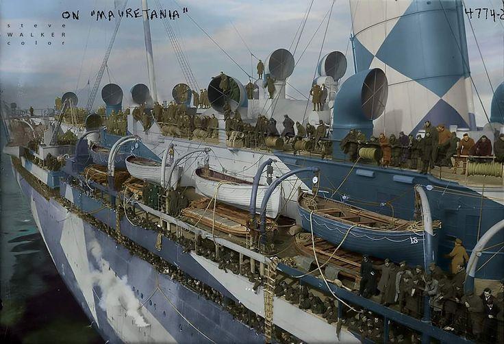A dazzle painted RMS Mauretania, Cunard Line.