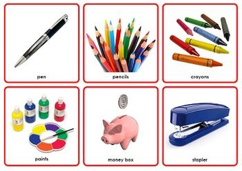 Included are 3 full sets of 126 different picture cards of common objects found around the home (e.g. lounge room, kitchen, bedroom, study, bathroom, laundry, appliances and electronics). One set has pictures only; the second words and pictures; and a third write-on / wipe-off set.