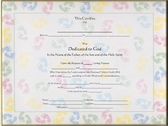 Baby Dedication Certificate Template Free  Baby Dedication Certificates Templates