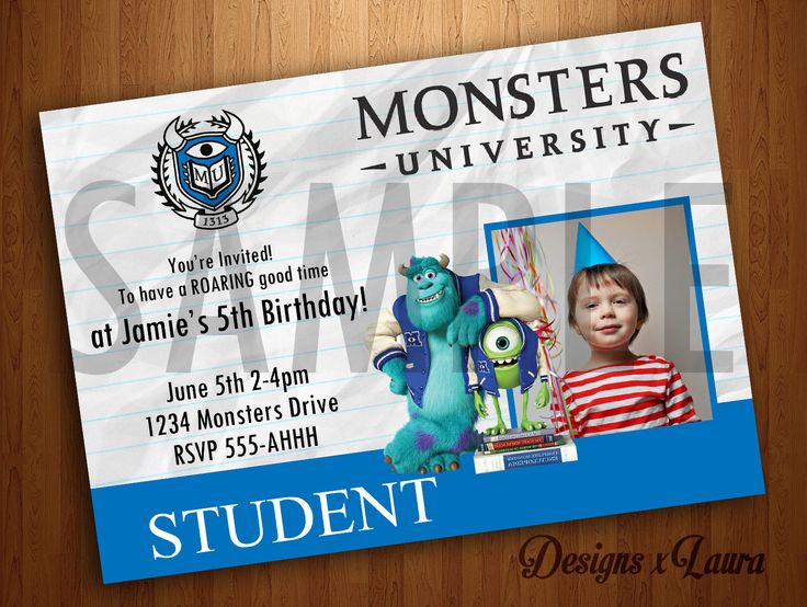 Monsters University Invitations / Disney Pixar by DesignsxLaura, $10.00
