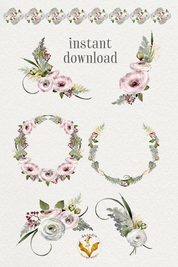 Watercolor Clipart Etsy Holiday Clipart Watercolor Clipart