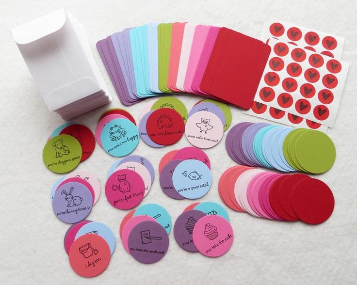 DIY Valentine Card Kit - Makes 40 Mini Cards with Envelopes - Valentine's Day Party 200 Piece DIY Classroom Card Kit. $24.00, via Etsy.