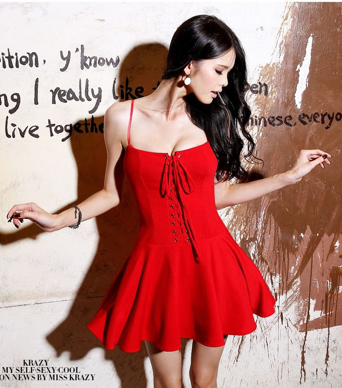 Fashion sexy tube top bandage puff skirt high waist spaghetti strap one-piece dress formal dress $26.50