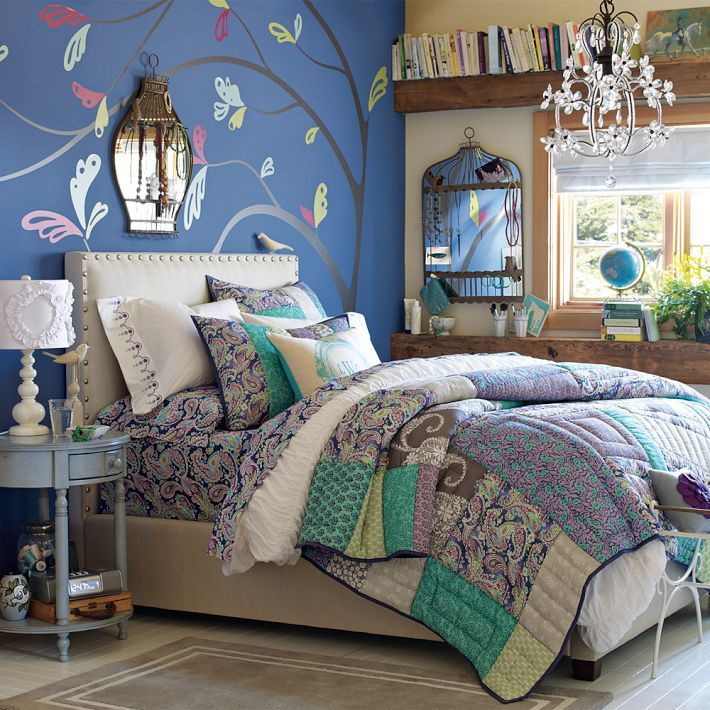 for murphy teen bedroom girls idea space saver design decor peacock blue green wall flower decal mirror cage memo holder shabby chic cottage style bed
