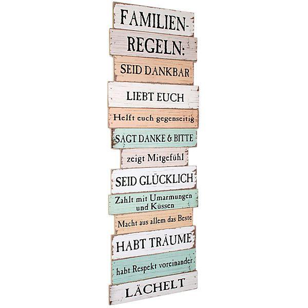 "Wanddekoration Holz ""Familien Regeln"""