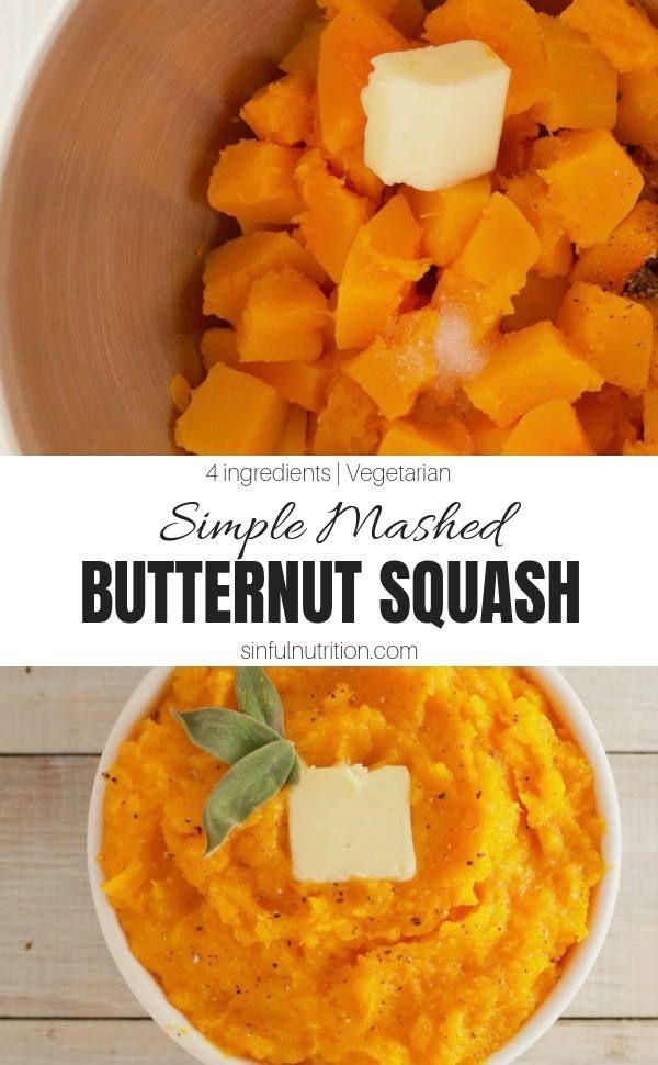 Basic Mashed Butternut Squash Sinful Nutrition Recipe Mashed Butternut Squash Butternut Squash Recipes Recipes