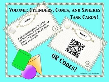 7th, 8th Grade - Volume: Cylinders, Cones, and Spheres Task Cards with ...