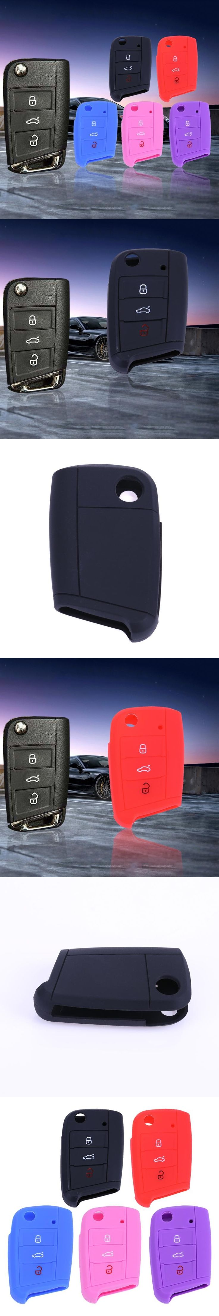 Silicone 3 Button Remote Flip Key Case Fob Protect Cover for VW Golf 3 Colors  Remote Holder Protect High Quality Car Accessorie