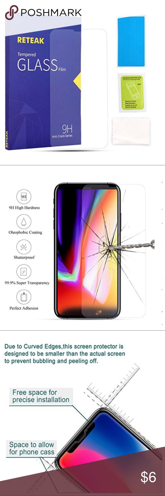 IPHONE 10 SCREEN PROTECTOR iPhone X Screen Protector, 9H Anti-Crack Series Tempered Glass Film with HD Premium Anti-Burst Anti-Fingerprint Anti-Bubble for Apple iPhone X ( 5.8-inch) (0.30mm) Accessories Phone Cases