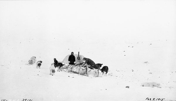 Camp near Bloody Falls, Coppermine River (Canadian Arctic Expedition – Southern Party) / Camp près des chutes Bloody, rivière Coppermine (l'Expédition canadienne dans l'Arctique ─ équipe sud)   by BiblioArchives / LibraryArchives