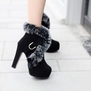 USD20.99Winter Round Toe Chunky High Heel Zipper Ankle Feathers Black PU Cavalier Boots