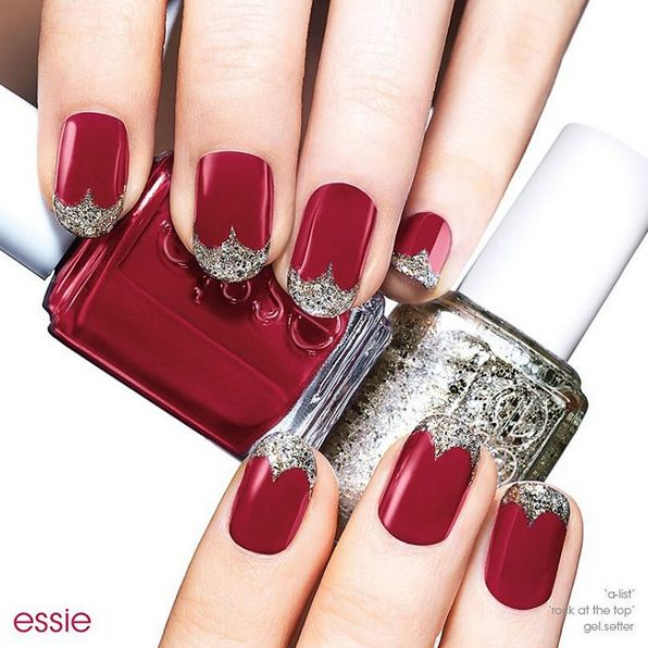 Be the Queen of Hearts with a Halloween nail art design fit for royalty. Recreate this royal nail look using essie award-winning, classic red 'a-list' and platinum gold iridescent silver glitter 'hors d'oeuvres' and you're sure to be best dressed at the party.