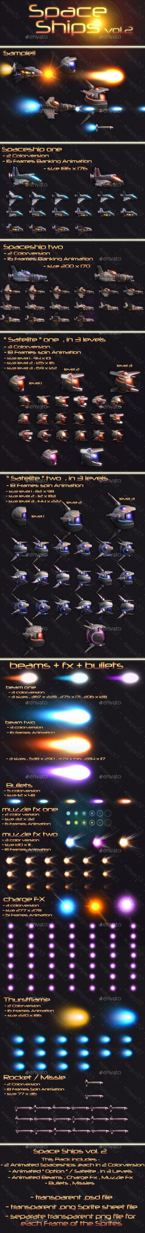 #Spaceships Vol.2 - #Sprites #Game #Assets Download here: https://graphicriver.net/item/spaceships-vol2/19459499?ref=alena994