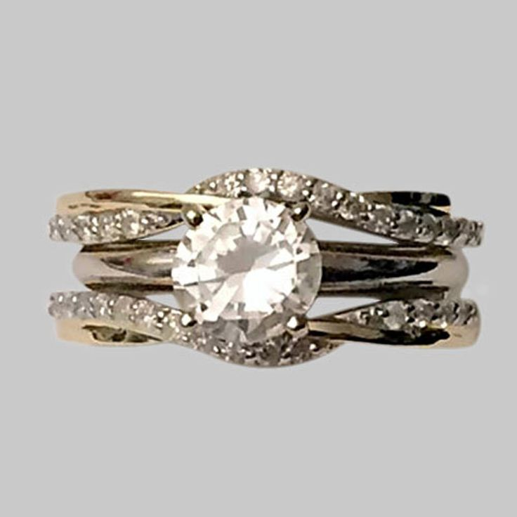 0.35ct Diamonds Wave Ribbon Style Solitaire Enhancer Ring Guard 10k Yellow Gold #Solitaire