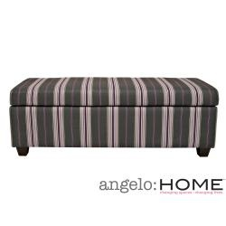 """Long- 52"""" @Overstock - The angelo:HOME Kent bench trunk ottoman with storage was designed  to fit up against a wall while still being able to open the lid easily. The Kent wall hugger bench storage trunk is covered in a gray and plum stripe fabric.http://www.overstock.com/Home-Garden/angelo-HOME-Kent-Founding-Stripe-Gray-Plum-Wall-Hugger-Trunk-Ottoman/6753123/product.html?CID=214117 $202.99"""