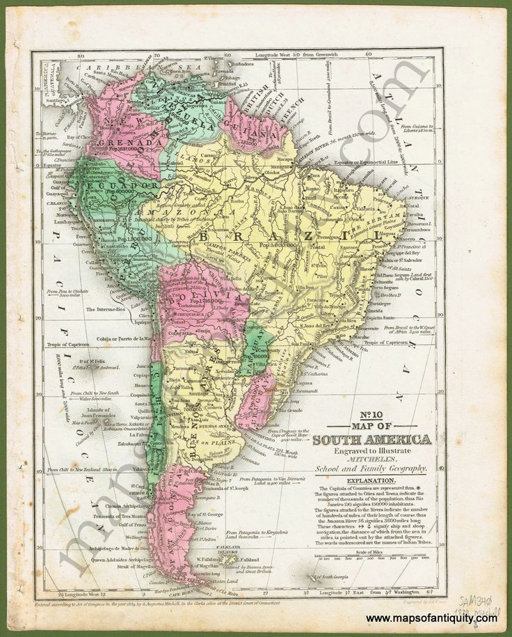 Antique (1839) Map of South America. Available in our shop and on our website.