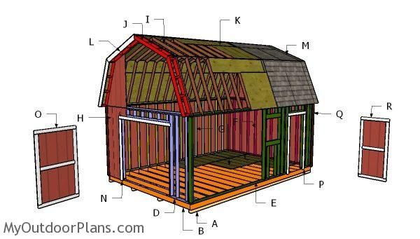 14x20 Gambrel Shed Roof Plans Myoutdoorplans Free Woodworking Plans And Projects Diy Shed Wooden Playh In 2020 Shed Plans Shed House Plans Diy Storage Shed Plans