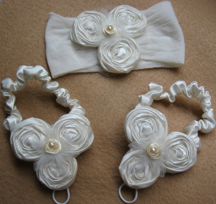 Baby Barefoot Sandals with matching headband by MyLittleLillyPad Etsy $26.50