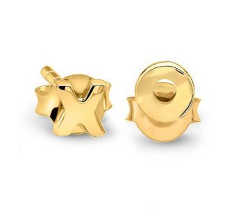 Gold X and O Stud Pair