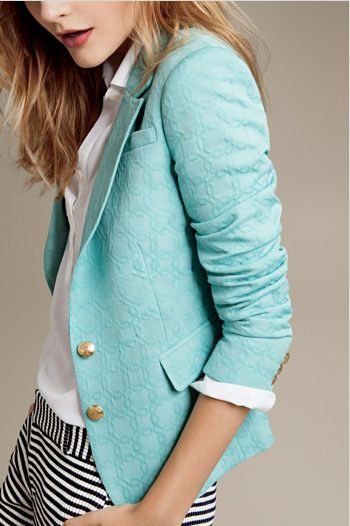 Banana Republic: Textured turquoise blazer.