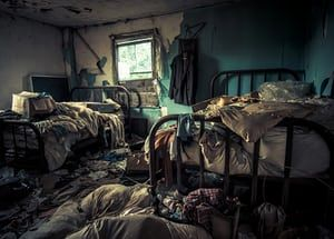 Detritus fills a room also containing two single beds, still covered in sheets and blankets