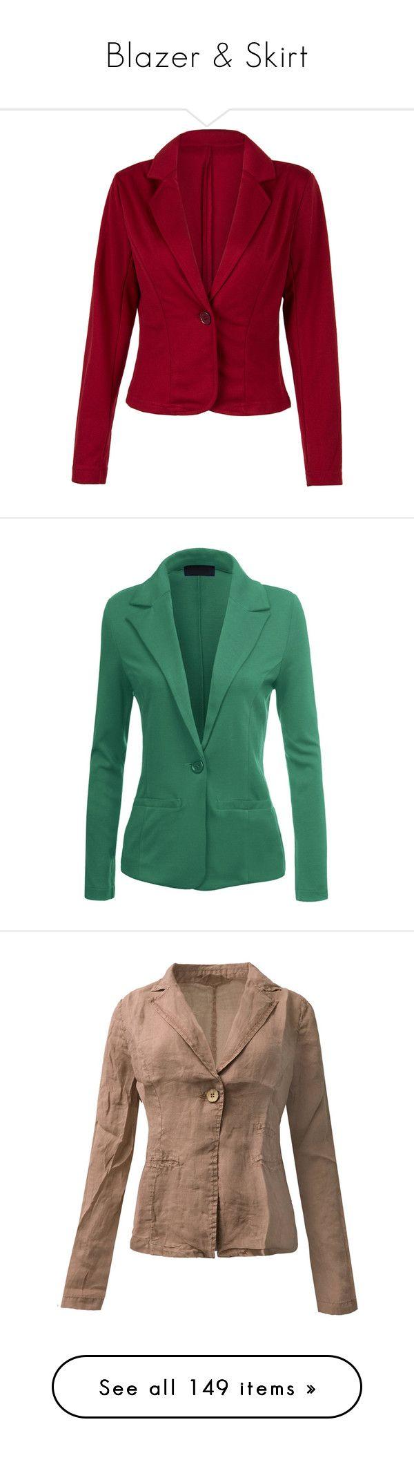 """Blazer & Skirt"" by vesper1977 ❤ liked on Polyvore featuring outerwear, jackets, blazers, lapel blazer, one button blazer, slim blazer, slim fit blazer, slim blazer jacket, fitted jacket and stretch jacket"