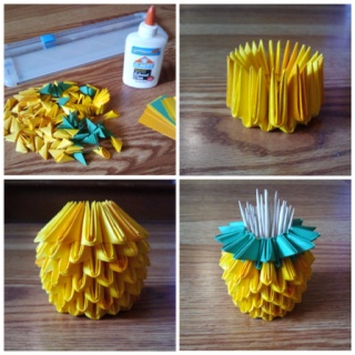 Mini Pineapple Toothpick Holder My 3d Origami Pinterest Origami And 3d Origami