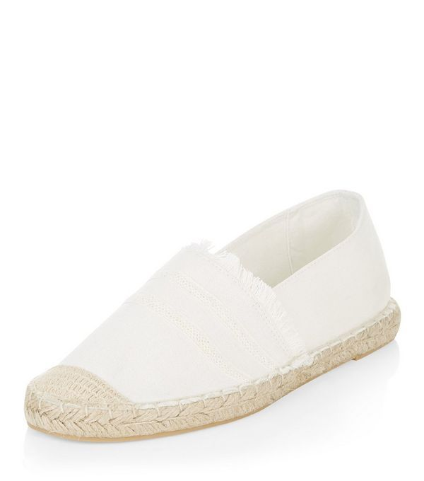 White Canvas Fray Trim Espadrilles  | New Look