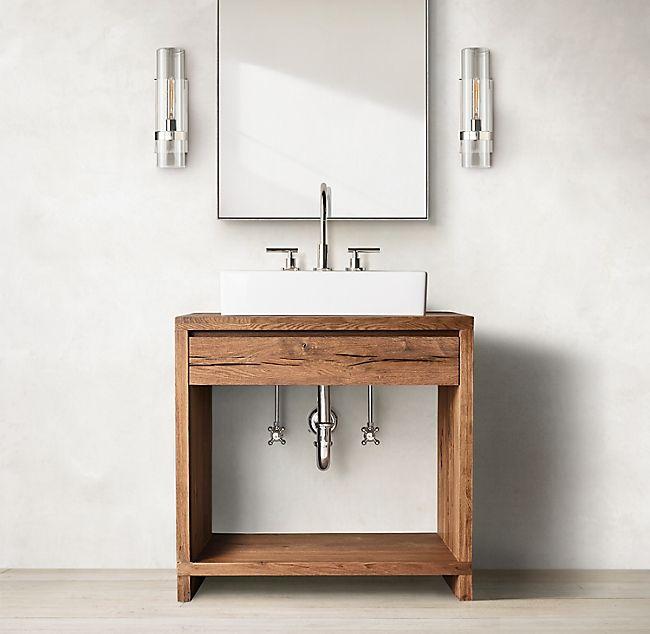 Oak Br L Waterfall Single Washstand