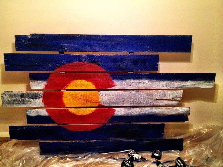 Colorado Flag painted on cedar fence pickets!