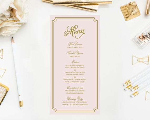 PRINTABLE Wedding Menu Card