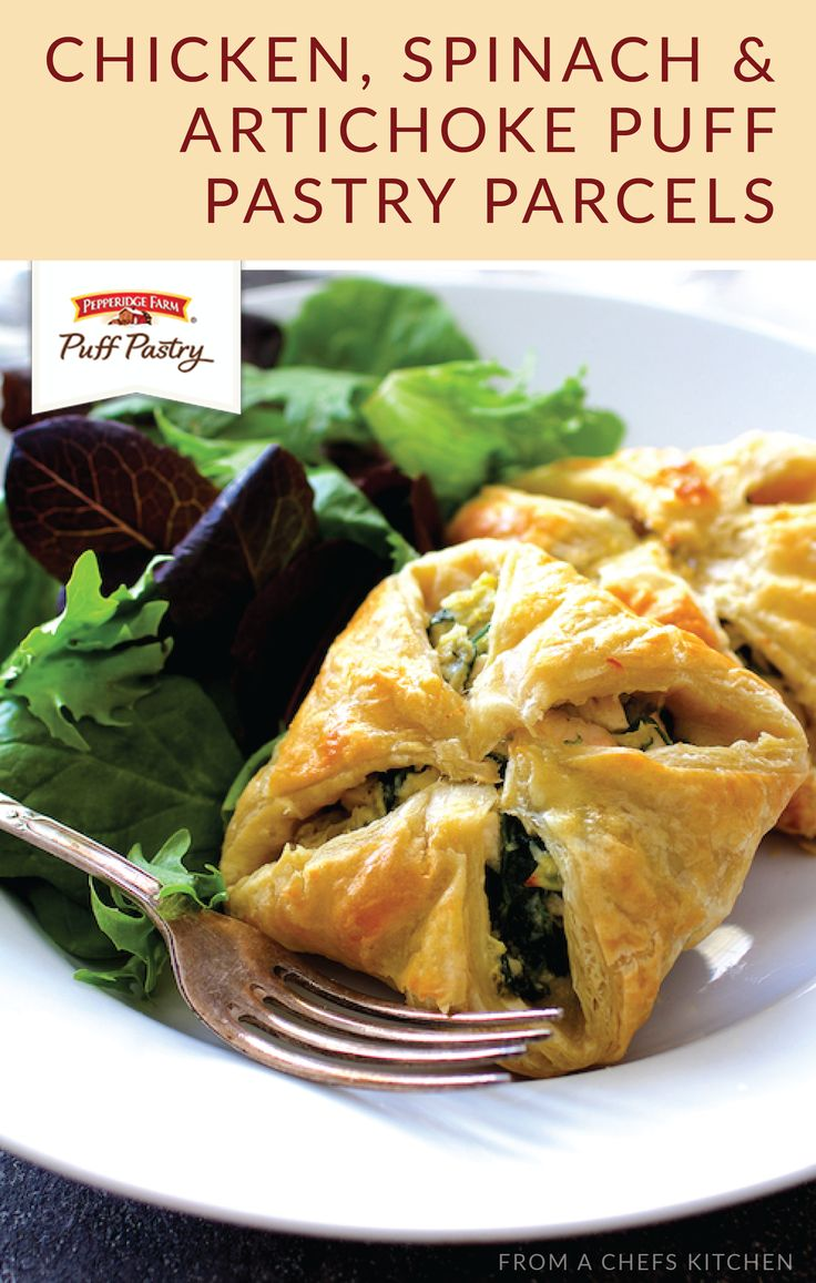 These Chicken, Spinach, and Artichoke Puff Pastry Parcels from Carol, of From a Chef's Kitchen are one party-worthy recipe that we can't do without. Use Pepperidge Farm® Puff Pastry Sheets to turn this appetizer into a savory, bite-sized dish.