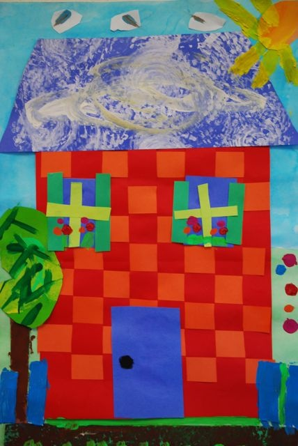 Paper house collage using paper weaving