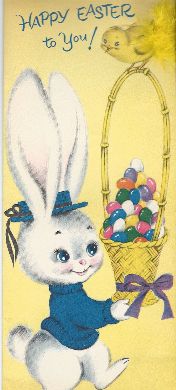 XL Vintage Easter Greeting Card Bunny Baskey Eggs Real Feathers  - Novelty - Scrapbooking